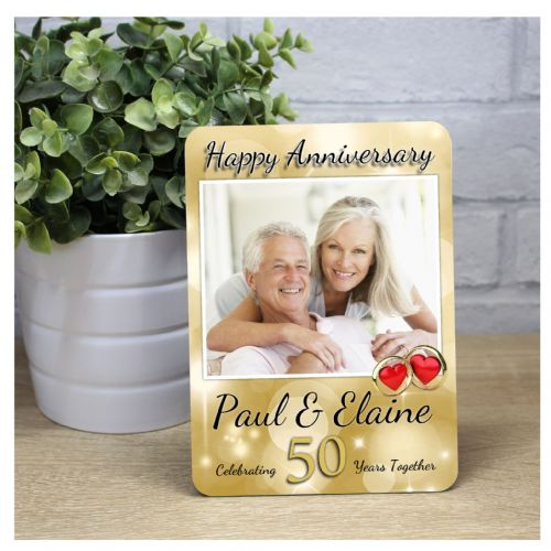 Personalised 50th Golden Wedding Anniversary Wood Photo Panel Print Gift F39